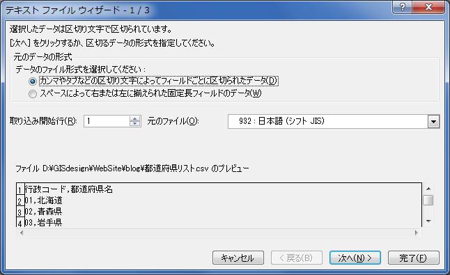 行政コードCSV、Excel インポート 1/3