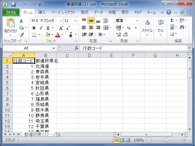 行政コードCSV、Excel オープン