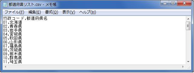 行政コードCSVファイル