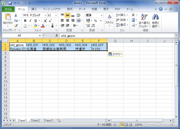 Excelコードの貼り付け文字列