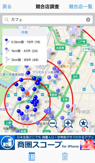 商圏スコープ・競合店調査画面